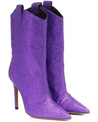 Alexandre Vauthier Exklusiv bei Mytheresa – Ankle Boots Wayne mit Glitter - Lila