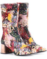 Erdem Kaela Velvet Ankle Boots - Multicolor