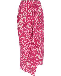 Isabel Marant Vestido midi Bree de seda elástica estampada - Rosa