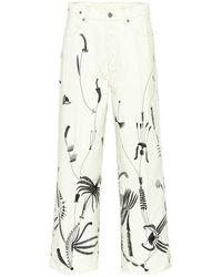 Dries Van Noten Printed Wide-leg Jeans - White