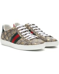 Gucci Sneakers Ace a stampa - Marrone