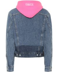 Vetements Hooded Denim Jacket - Blue
