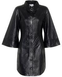 Ganni Leather Mini Shirt Dress - Black
