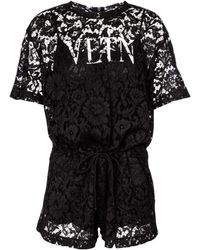 Valentino – Combi-short en dentelle à logo - Noir