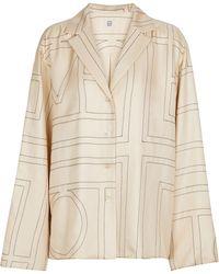 Totême Printed Silk Twill Pajama Shirt - White