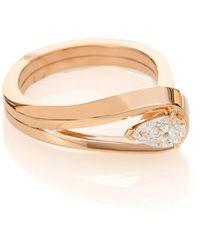 Repossi Bague Serti Inversé en or rose 18 ct et diamant - Métallisé