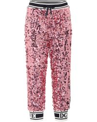 Dolce & Gabbana Pantalon de survêtement à sequins - Rose