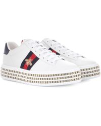 Gucci Ace Trainers With Crystals - White