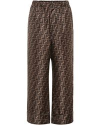 Fendi Ff Print Silk Satin Pyjama Trousers - Brown