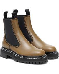Proenza Schouler Leather Chelsea Boots - Green