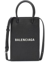 Balenciaga Borsa porta cellulare Shopping in pelle - Nero