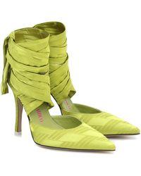 The Attico Paloma Lace-up Satin Pumps - Green