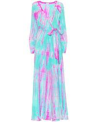 Anna Kosturova Robe portefeuille en soie imprimée - Multicolore