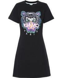 KENZO - Tiger Logo Cotton Minidress - Lyst