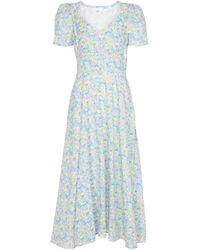 LoveShackFancy Hutchinson Floral Cotton Midi Dress - Blue