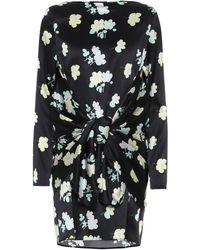 BERNADETTE Vestido corto Judy de seda floral - Negro