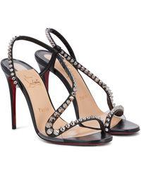 Christian Louboutin Mafaldina 100 Embellished Leather Sandals - Black