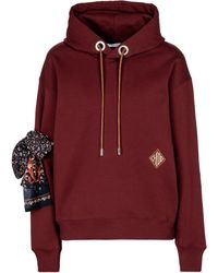 Chloé Embellished Cotton Hoodie - Red