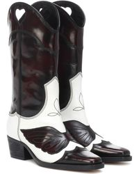 Ganni Two-tone Embroidered Leather Knee Boots - Brown
