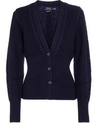 Polo Ralph Lauren Cárdigan de lana de punto acanalado - Azul