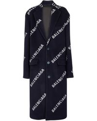 Balenciaga Logo Wool And Cashmere-blend Coat - Blue