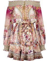 Camilla Exclusive To Mytheresa – Floral Off-shoulder Silk Minidress - Multicolour