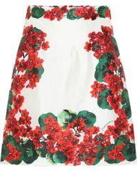 Dolce & Gabbana Mini-jupe imprimée en soie - Rouge