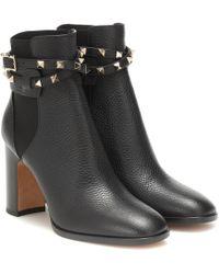 Valentino Garavani Rockstud Leather Ankle Boots - Black