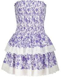 Caroline Constas Ensley Floral Smocked Minidress - Blue