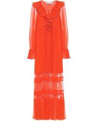 Self-Portrait Vestido largo de chifón - Naranja