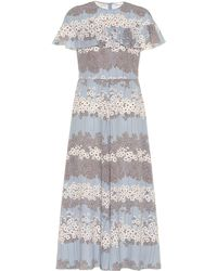 RED Valentino Ruffled Floral Midi Dress - Blue
