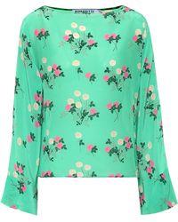BERNADETTE Top Gemma de seda floral - Verde