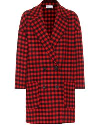 RED Valentino Checked Wool-blend Coat - Red