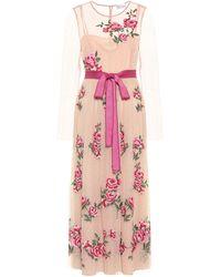 RED Valentino Floral Midi Dress - Pink