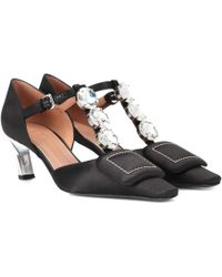 Marni - Crystal-embellished Satin Court Shoes - Lyst