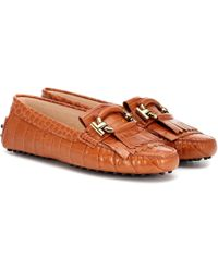 Tod's - Embossed Leather Loafers - Lyst