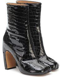 Maison Margiela Tabi Patent Leather Ankle Boots - Black