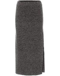 Altuzarra Falda en mezcla de lana tiro alto - Gris