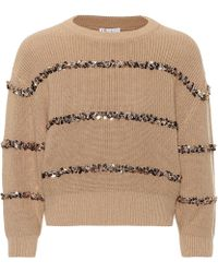 Brunello Cucinelli - Dazzling Stripes Cotton Sweater - Lyst