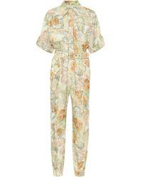 Zimmermann Glassy Floral Linen Belted Jumpsuit - Multicolor
