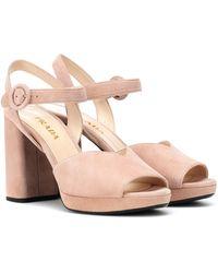 Prada - Sandalen mit Blockabsatz - Lyst