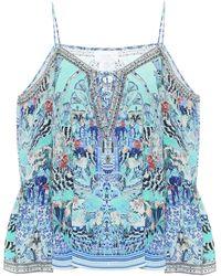 Camilla Top lencero de seda adornado - Azul