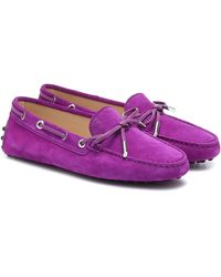Tod's Gommino Suede Moccasins - Purple