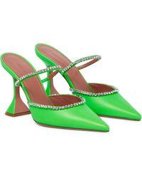 AMINA MUADDI Verzierte Mules Gilda aus Leder - Grün