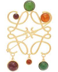 Loewe Anagram Embellished Brooch - Metallic