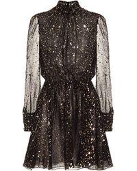 MSGM Printed Silk-chiffon Minidress - Black