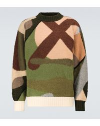 Sacai X Kaws Camouflage Wool Sweater - Green