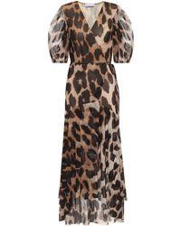 Ganni Printed Mesh Wrap Dress - Natural