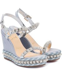 Christian Louboutin Pira Ryad 110 Leather Wedge Sandal - Blue