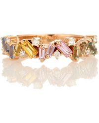 Suzanne Kalan Anello Fireworks Pastel Frenzy in oro rosa 18kt con diamanti e zaffiri - Multicolore